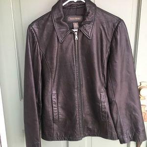 Banana Republic brown black leather jacket flaw